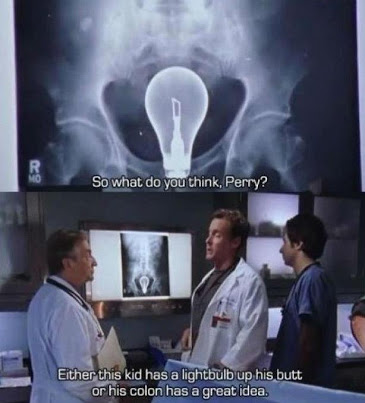 Collage of images: xray of a lightbulb lost in rectum