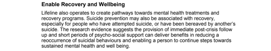 Lifeline's Approach to Preventing Suicide: Enable Recovery and Wellbeing