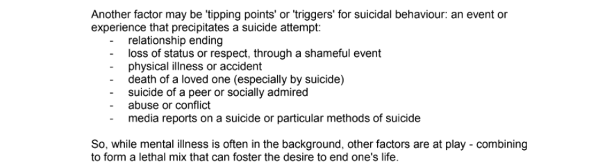 Lifeline's Approach to Preventing Suicide: What causes Suicide?
