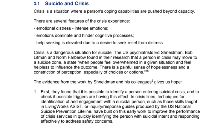 Lifeline's Approach to Preventing Suicide: Suicide and Crisis